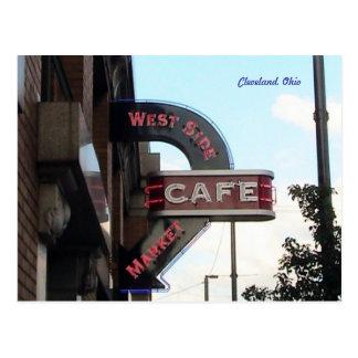 Signe de café du marché, carte postale de