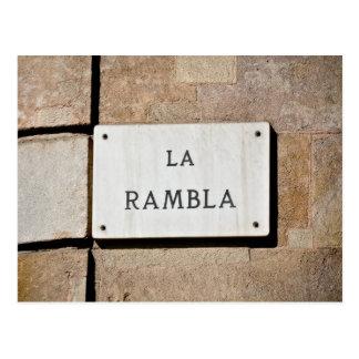 Signe de carte postale de Rambla Barcelone Espagne