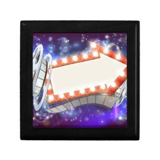 Signe de film de cinéma de flèche petite boîte à bijoux carrée