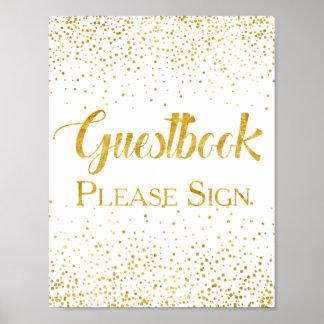 Signe de Guestbook de mariage de confettis de Poster