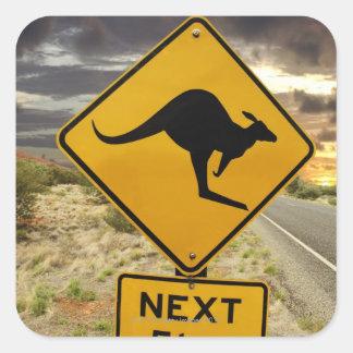 Signe de kangourou Australie Stickers Carrés