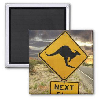 Signe de kangourou, Australie Magnet Carré