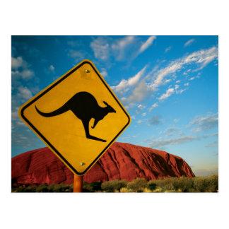 signe de kangourou de roche d'ayers carte postale