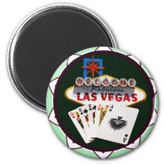 Signe de Las Vegas et jeton de poker de cartes Aimants