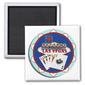 Signe de Las Vegas et jeton de poker de cartes Magnet Carré