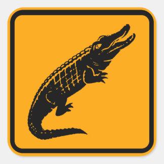 Signe de l'Australie de crocodiles (paquet de Sticker Carré