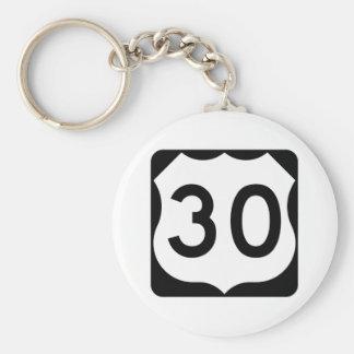 Signe de l'itinéraire 30 des USA Porte-clé Rond