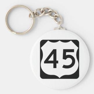 Signe de l'itinéraire 45 des USA Porte-clé Rond