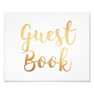Signe de livre d'invité d'or. Affiche de mariage. Impression Photo