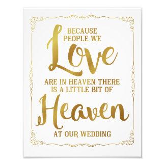 signe de mariage, ciel au mariage, or impression photographique
