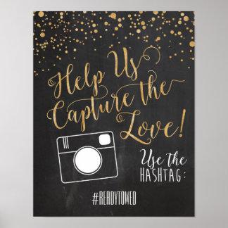Signe de mariage de Hashtag Affiches