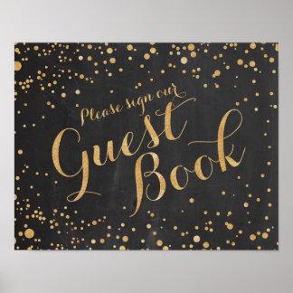 Signe de mariage de livre d'invité affiche