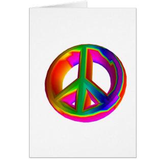 signe de paix à trois dimensions d'arc-en-ciel #3 carte de vœux