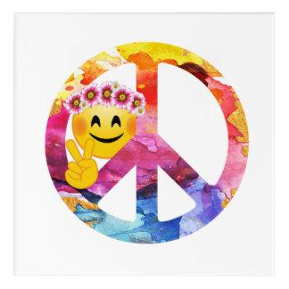 Signe de paix, art hippie d'aquarelle d'émoticône