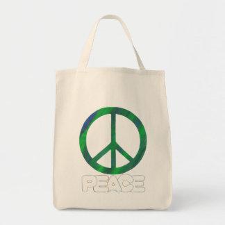 Signe de paix avec le texte d'ensemble, sacs