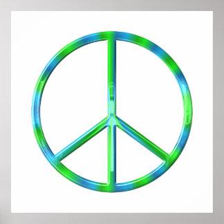 Signe de paix bleu et vert poster