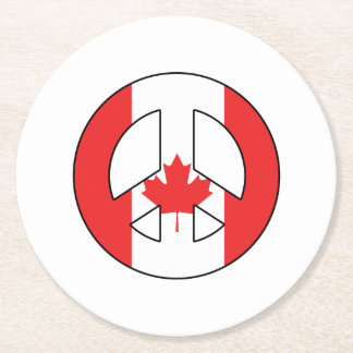 Signe de paix canadien dessous-de-verre rond en papier