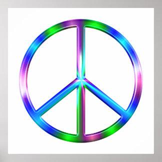 Signe de paix coloré brillant poster