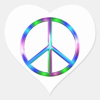 Signe de paix coloré brillant sticker cœur
