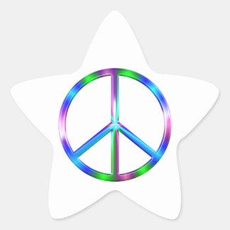 Signe de paix coloré brillant sticker étoile