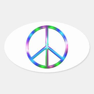 Signe de paix coloré brillant sticker ovale