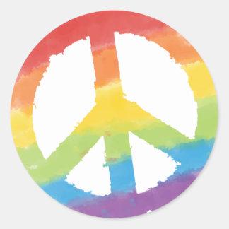 Signe de paix d'arc-en-ciel sticker rond