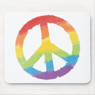 Signe de paix d'arc-en-ciel tapis de souris