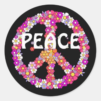 Signe de paix de flower power sticker rond