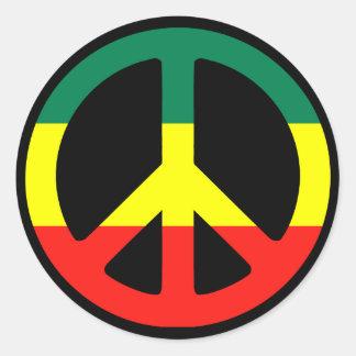 Signe de paix de Rasta Sticker Rond
