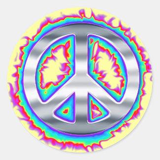 Signe de paix flamboyant psychédélique autocollants