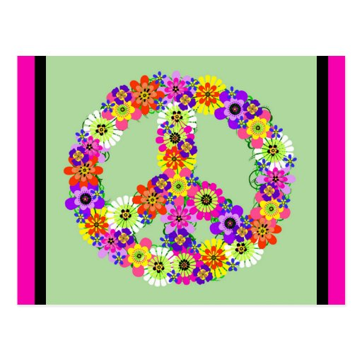 Signe de paix floral avec la frontière fuchsia et  cartes postales