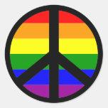 Signe de paix gai autocollant rond