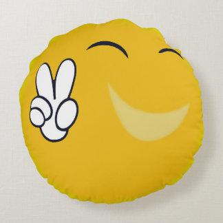 Signe de paix heureux de Sun Coussins Ronds