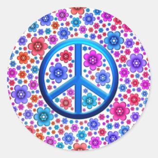 Signe de paix hippie sticker rond