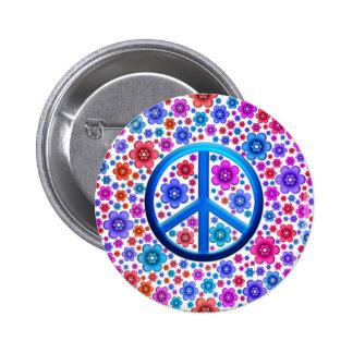 Signe de paix hippie badge rond 5 cm