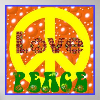 Signe de paix hippie de paix d'amour de poster vin posters