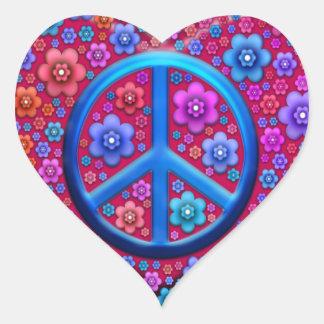 Signe de paix hippie sticker cœur