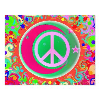 Signe de paix, lune, étoiles et tout carton d'invitation 10,79 cm x 13,97 cm