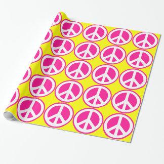 Signe de paix rose au néon papiers cadeaux