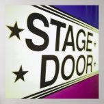Signe de porte d'étape de théâtre affiche
