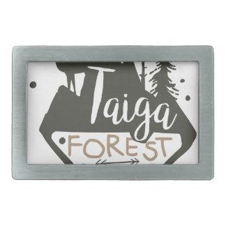 Signe de promo de parc d'eco de forêt de Taiga Boucles De Ceinture Rectangulaires