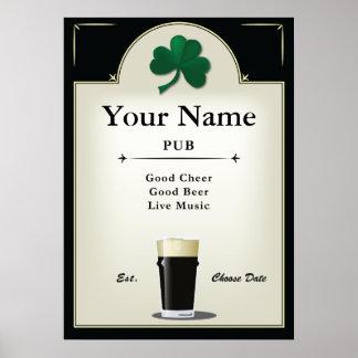 Signe de Pub, Pub irlandais, personnalisé Posters