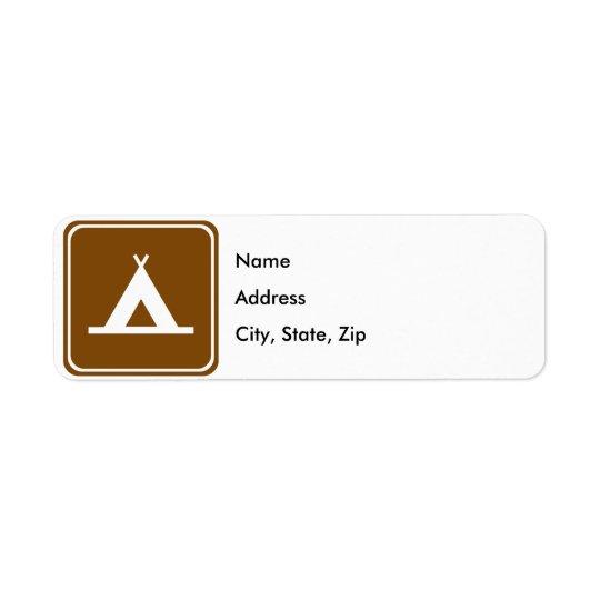 Signe de route de camping étiquette d'adresse retour