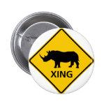 Signe de route de croisement de rhinocéros pin's avec agrafe