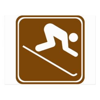 Signe de route d'équipements de ski alpin cartes postales