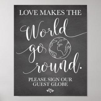 Signe de Tableau de mariage de globe d'invité