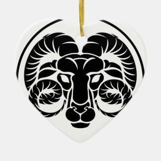 Signe de zodiaque d'horoscope de Bélier Ornement Cœur En Céramique