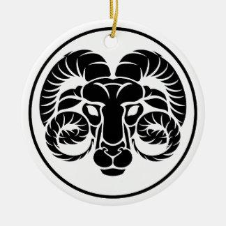 Signe de zodiaque d'horoscope de Bélier Ornement Rond En Céramique