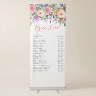 Signe debout libre floral peint des prix banderole rétractable