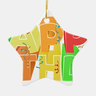 Signe des textes de mot de joyeux anniversaire ornement étoile en céramique